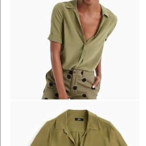 Jcrew silk short sleeve button shirt olive green